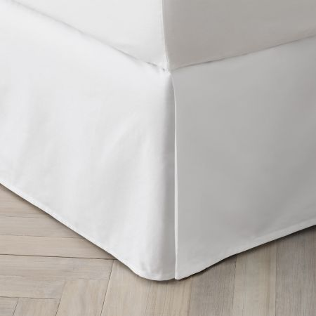 Organic Cotton 300TC Percale Bed Skirt in Snow