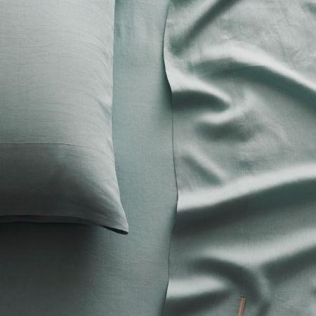 Abbotson Linen Flat Sheet in mint frost