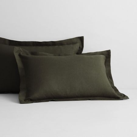 Abbotson Linen Tailored Pillowcase Pair in olive