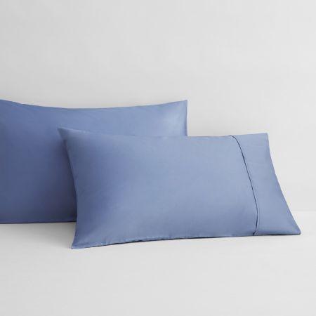 Sheridan Organic Cotton Sateen Pillowcase Pair Blue Reef