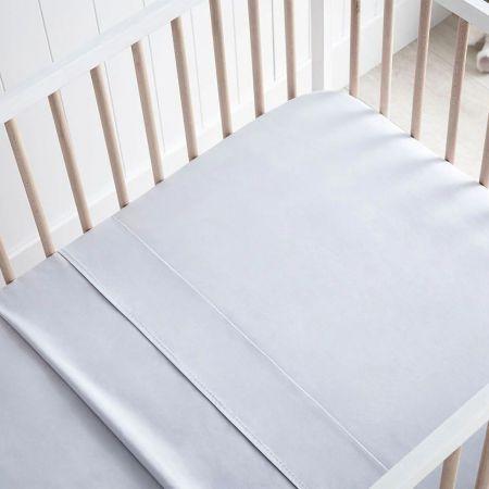 Sheridan Organic Cotton Olly Baby Cot Sheet Frost Grey