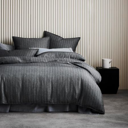 Harlow Quilt Cover Set in Carbon
