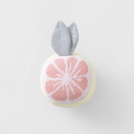 Grapefruit Woven Rattle Toy in rose