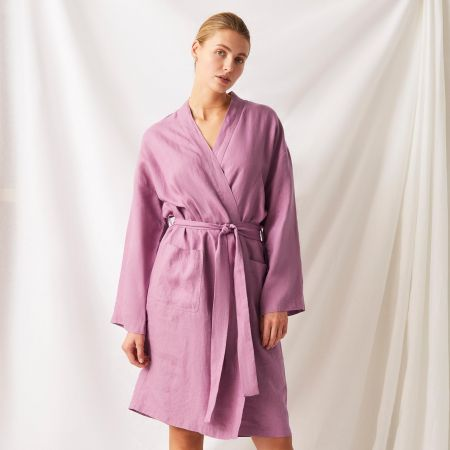 Abbotson Linen Unisex Robe in crocus