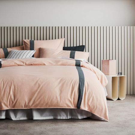 Hanley Quilt Cover Set in Peach