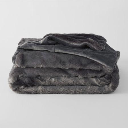 Sheridan Dalmar Faux Fur Throw Stone