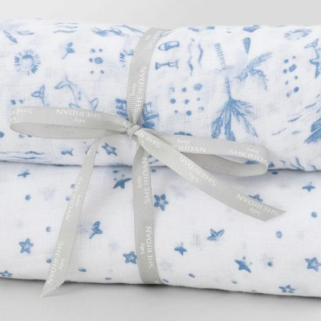 Sheridan Mysie Baby Wrap Set Summer & Sea Print Sea Blue