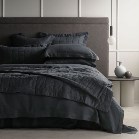 Sheridan Abbotson Linen Bed Cover Carbon