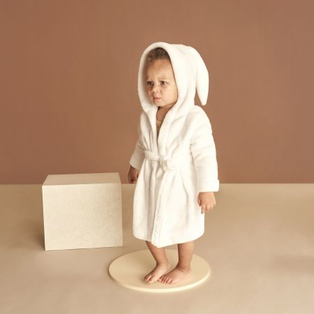 Sheridan Bunnie Hooded Baby Bathrobe White