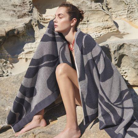 Cowrie Bay Beach Towel in Carbon