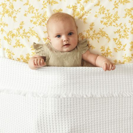 Organic Cotton Waffle Baby Blanket in White